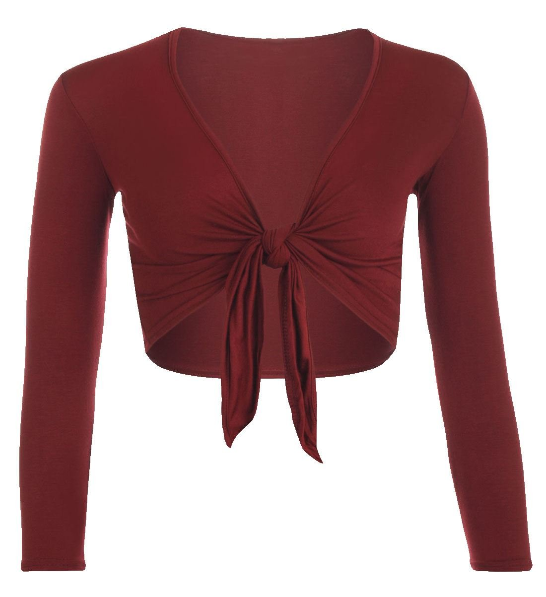 NEW LADIES LONG SLEEVE TIE UP FRONT CROPPED SHRUG BOLERO CARDIGAN TOP 8-22 FASHION FAIRIES LTD
