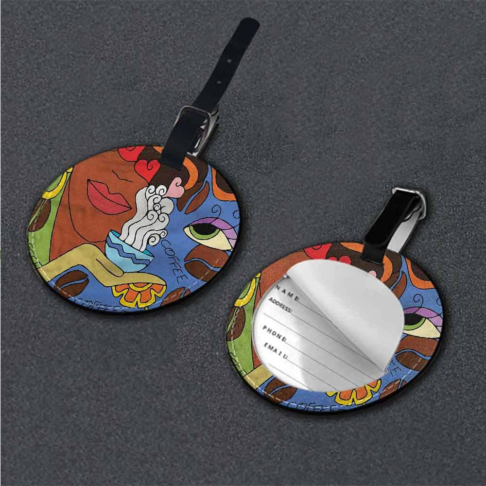 Men Luggage Tag Coffee,Cartoon Lady with Flowers Id Tag Suitcase Carry