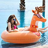 Jasonwell Reindeer Inflatable Pool Tube Float Big 47 Inch Heavy Duty Floatie Ride On Blow Up Winter Tube Summer Swimming Pool Party Lounge Floating & Toys for Kid Adults