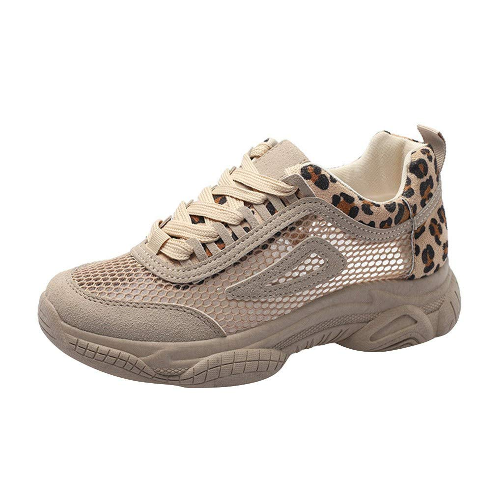 HENWERD Walking Athletic Shoes for Women Casual Lace-up Breathable Running Sneakers (Khaki,5.5 US)