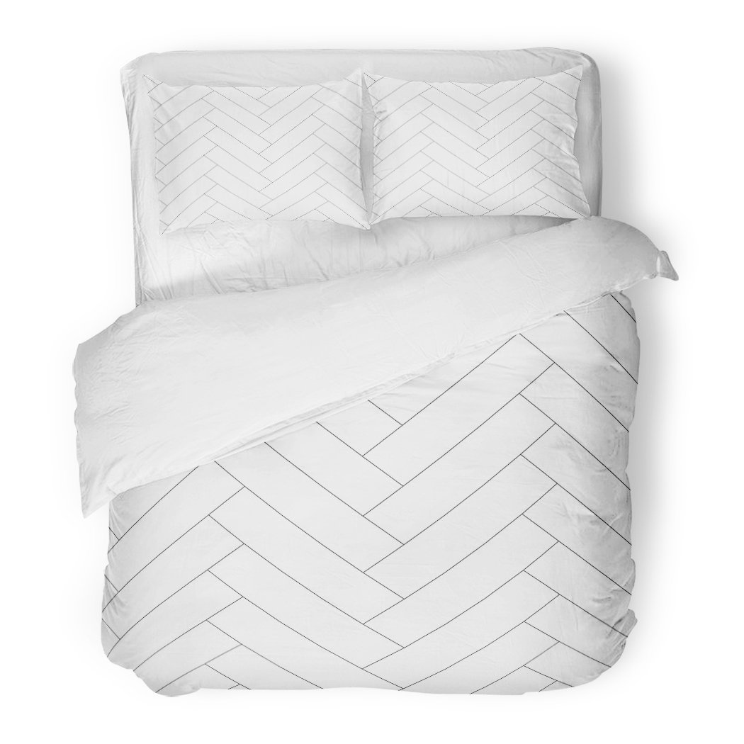 SanChic Duvet Cover Set Silver White Geometric Pattern with Herringbone Line Wood Decorative Bedding Set with Pillow Sham Twin Size
