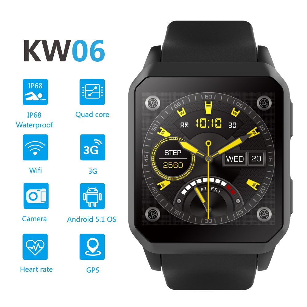 Amazon.com: TORTOYO KW06 Smart Watch Phone Android 5.1 OS 512MB+8GB 3G SIM GPS WiFi Heart Rate Monitor Pedometer Camera IP68 Waterproof Swim (Black): Cell ...