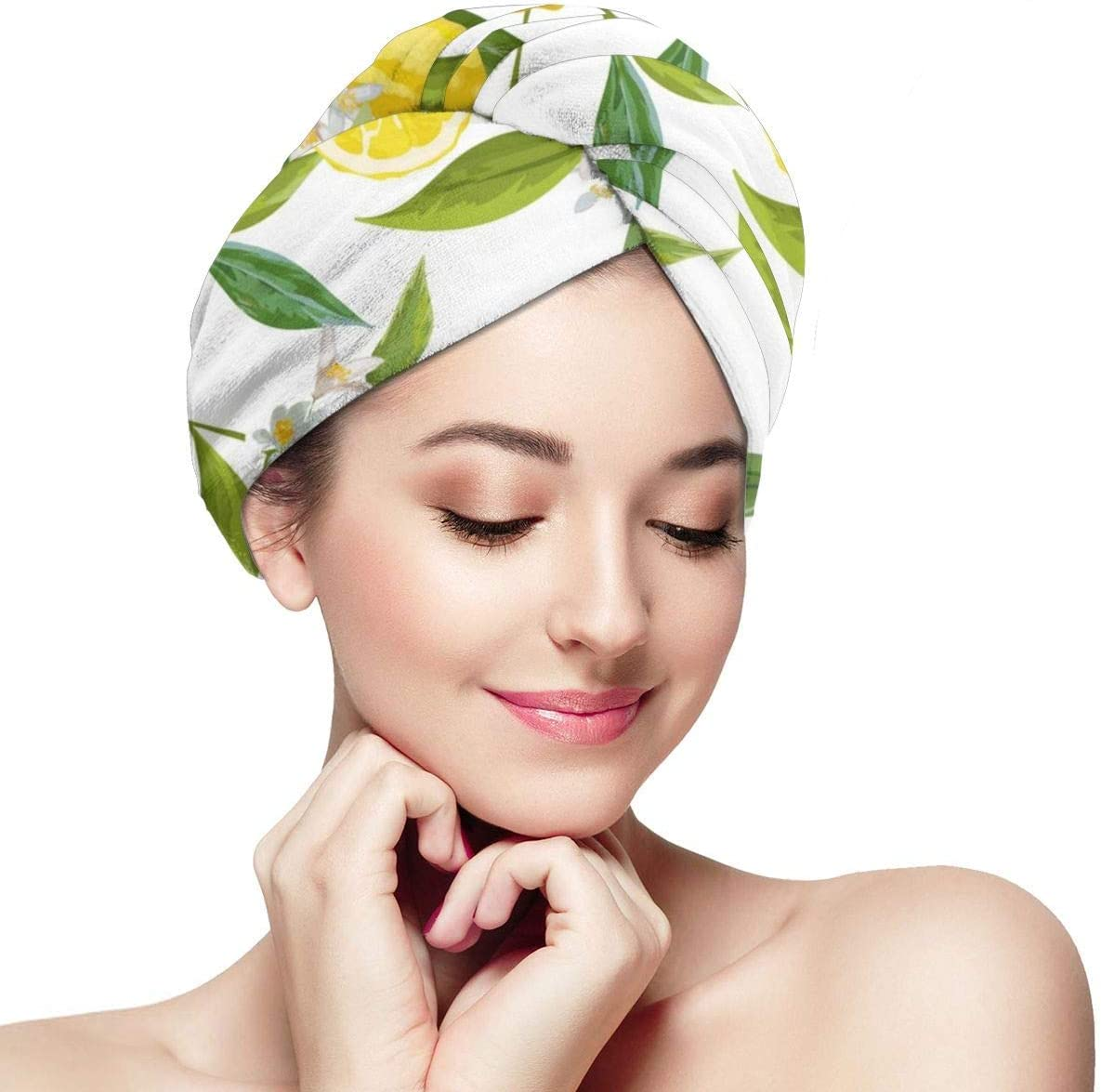 QHMY Toalla para el cabello Wrap Turbante Floral Limón Secado rápido Gorro para el cabello Microfibra Secado Baño Ducha Toalla con botones
