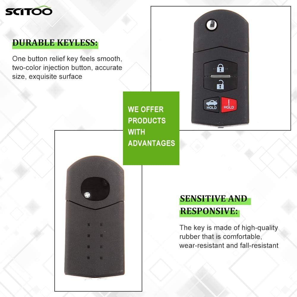 SCITOO 1PC Key Fob Keyless Remote Head Key Transmitter Uncut Flip 4 Buttonss Replacement 2005-2013 Mazda 3 5 6 CX-7 CX-9 MX-5 Miata RX-8 BGBX1T478SKE125-01 US Stock