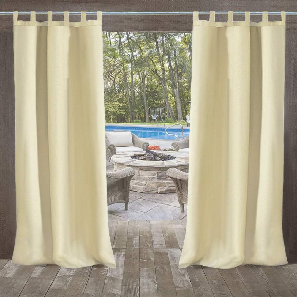 UniEco Outdoor Curtain Garden Patio Balloon Curtains Blackout Curtains Waterproof Mildew Resistant for Pavilion Beach House, 1 Piece, 132x215cm, Beige