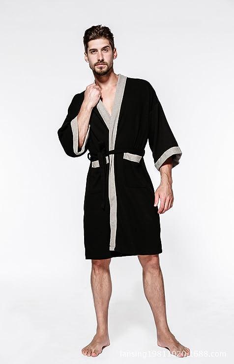 HUAN Albornoz de algodón de Lujo para Hombres Batas de baño para Hotel avanzado Sauna Sauna