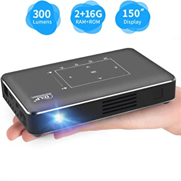 Portable Mini Projector Laptops Smart Phone Support 1080P Movie for Home Cinema//Business Presentation iXunGo Pico Pocket DLP Smart Multimedia Video Projector 300 ANSI Lumen with WiFi//BT//USB//HDMI