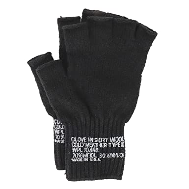 Armycrew Men s Government Issue Made in USA Wool Blend Fingerless Glove -  Black b225b742e88