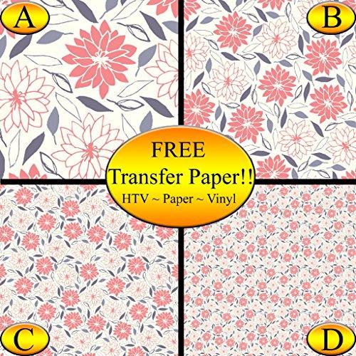 Pink Flowers Purple Leaves Pattern Printed Heat Transfer Vinyl (Style C - 12 x 24) by American Sign Letters