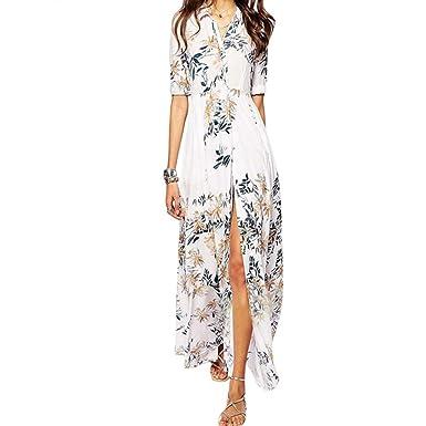 HUIJSNQ Fashion Vestidos 2017 Summer Women Casual Boho Beach Dress V Neck Floral Print Split Long
