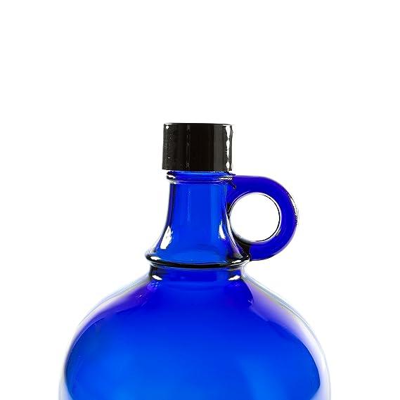 Garrafa de cristal azul con cierre de rosca de plástico negro y asa para Aquadea, Deckel für 2 Liter: Amazon.es: Hogar
