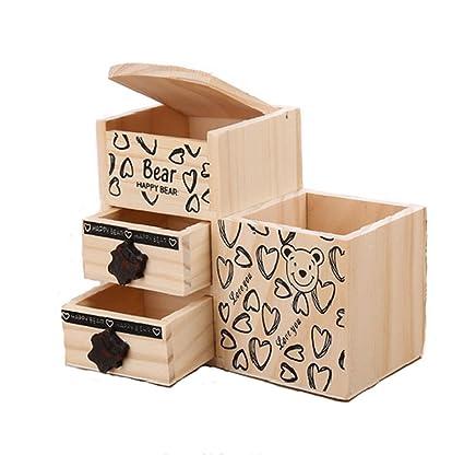 Bon Bear Wooden Pen Holder Storage Box Kawaii Desk Tidy Organizer Pencil Holder  Cute Anime Cartoon Desktop