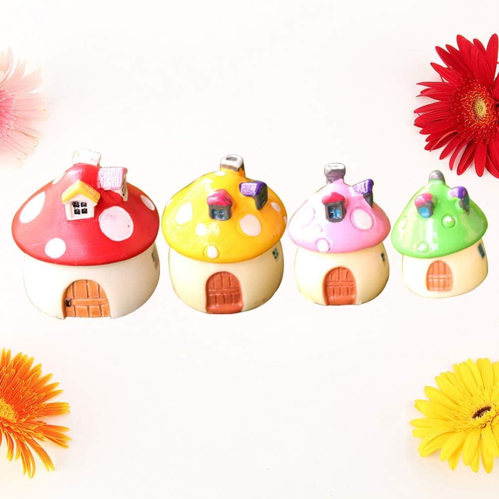 Toyvian Mini figura de hongo de hadas para jard/ín de hadas adornos de resina para macetas 4 unidades decoraci/ón de casa de mu/ñecas