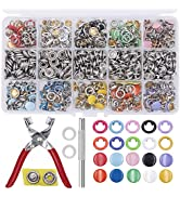 EuTengHao 804Pcs Snap Fasteners Tool Kit Hollow and Solid Metal Prong Snaps Buttons with Setting ...