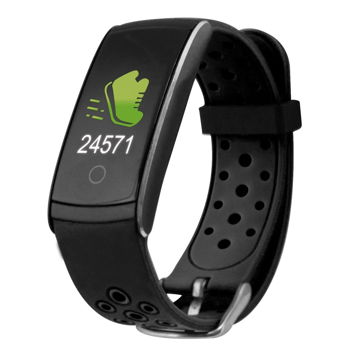 Ksix Fitness Band HR2 - Pulsera Deportiva con Monitorización Completa de la Actividad Física, Color Negro