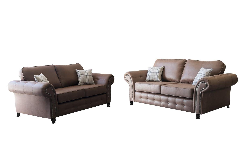 mb-moebel Polstergarnitur 2er Sofa Couch Wohnzimmer Set 3 2 Luxor (Braun)