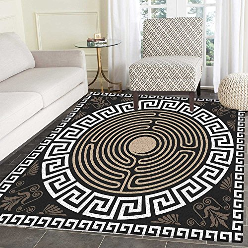 - Greek Key small rug Carpet Grecian Fret and Wave Pattern on Dark Background Antique Retro Swirls door mat indoors Bathroom Mats Non Slip 2'x3' Dark Brown Coconut Tan