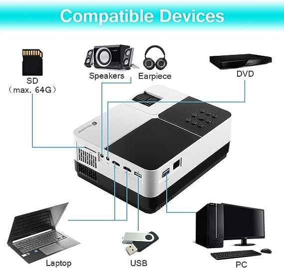 Houzetek - Proyector de vídeo portátil (2500 lúmenes, LCD ...