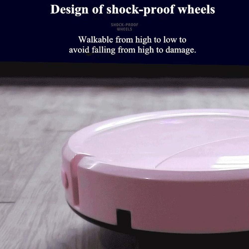 Lcxliga Robot balayeur Intelligent, aspirateur de Robot 3 Modes de Nettoyage balayant Automatique et traînant la Machine balayante (Color : Pink) White