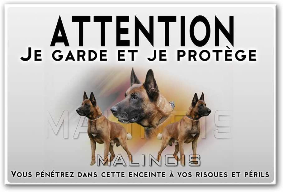 Pets-easy Plaque Attention au Chien Malinois Militaire