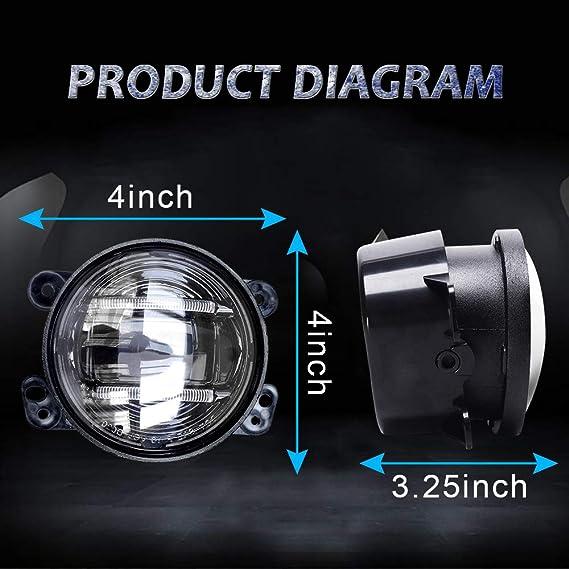 Luces antiniebla LED redondas de 10 cm 30 W 6000 K Halo DRL ...