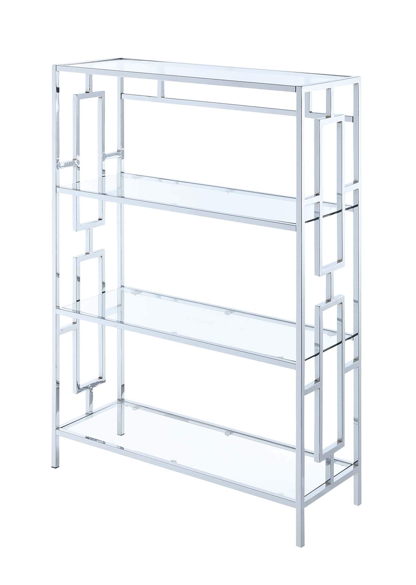 Convenience Concepts Town Square Chrome 4-Tier Bookcase, Clear Glass Frame by Convenience Concepts