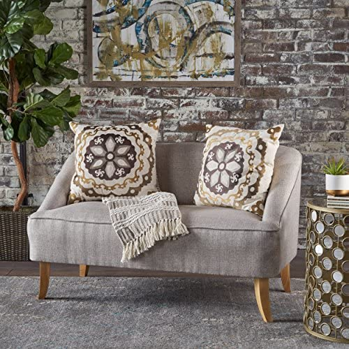 Christopher Knight Home 302027 Jasper Mid Century Modern Fabric Loveseat Beige ,