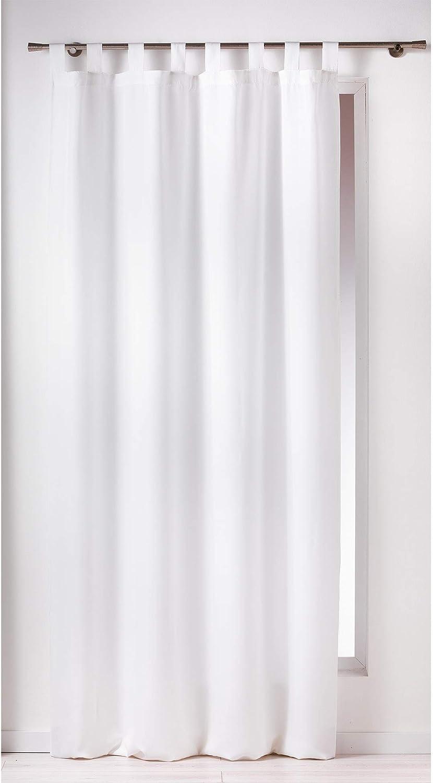 DOUCEUR D'INTERIEUR - 1600515, Cortina Trabillas, 140 X 260 Cm, Essentiel, Poliéster Liso, Blanco