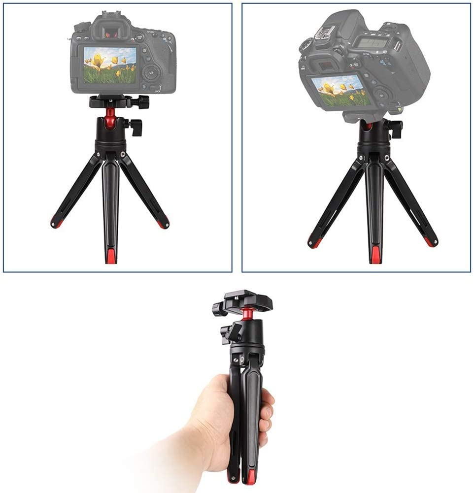 XIAOXIAO 21Cm Black 11 Lbs 8.2In Desktop Mini Tripod Compact Lightweight Selfie Stick 360 /° Panorama Ball Head Portable Tripod Tripod Load 5Kg