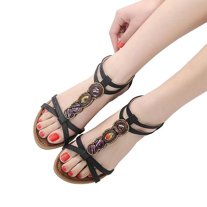 0a6cd934b5bf5 Amazon.com: Leedford Sandals Women Bohemia Beads Summer Shoes Wild ...
