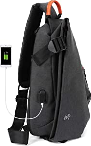 Sling Crossbody Backpack Shoulder Bag for Men Women,One Strap Backpack Sling Bag Backpack Waterproof for Hiking Walking Biking Travel Cycling,Black