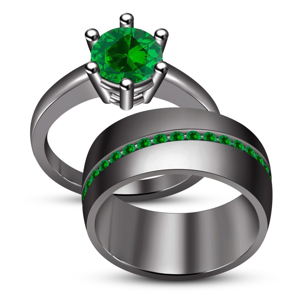 RG26941/_60 Green Sapphire TVS-JEWELS Black Rhodium Plated Over 925 Silver Sapphire Stone Wedding His And Her Trio Bridal Ring Set