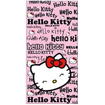 "Toalla de Playa Hello Kitty Rosa y Negra ""Pink Magazine"" ..."