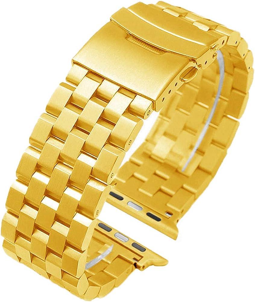 Correa de reloj deportivo dorado Smart Compatible para Apple Watch Series 1 2 3 4 5 Pulsera de reloj 38mm 40mm Banda de reloj de repuesto de acero inoxidable para hombres Mujeres