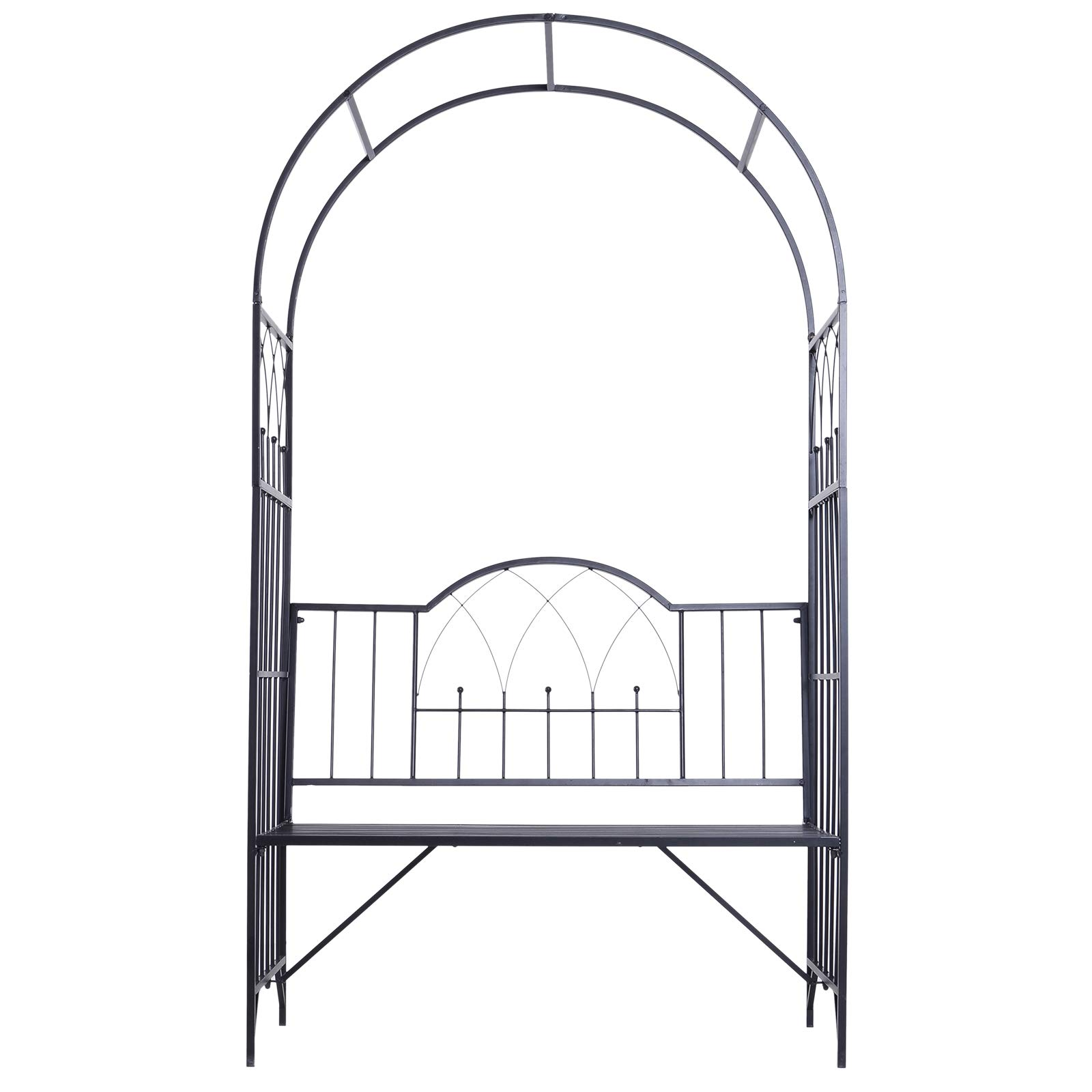 Outsunny Outdoor Garden Arbor Arch Steel Metal with Bench Seat - Black by Outsunny (Image #4)