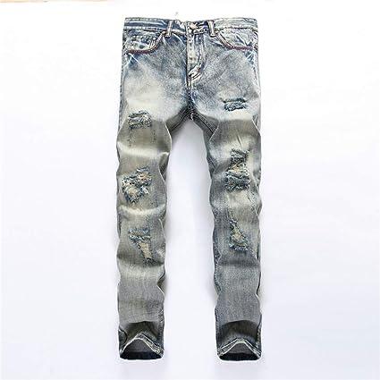Fengbingl Pantalones Vaqueros nostálgicos de Rotos con ...