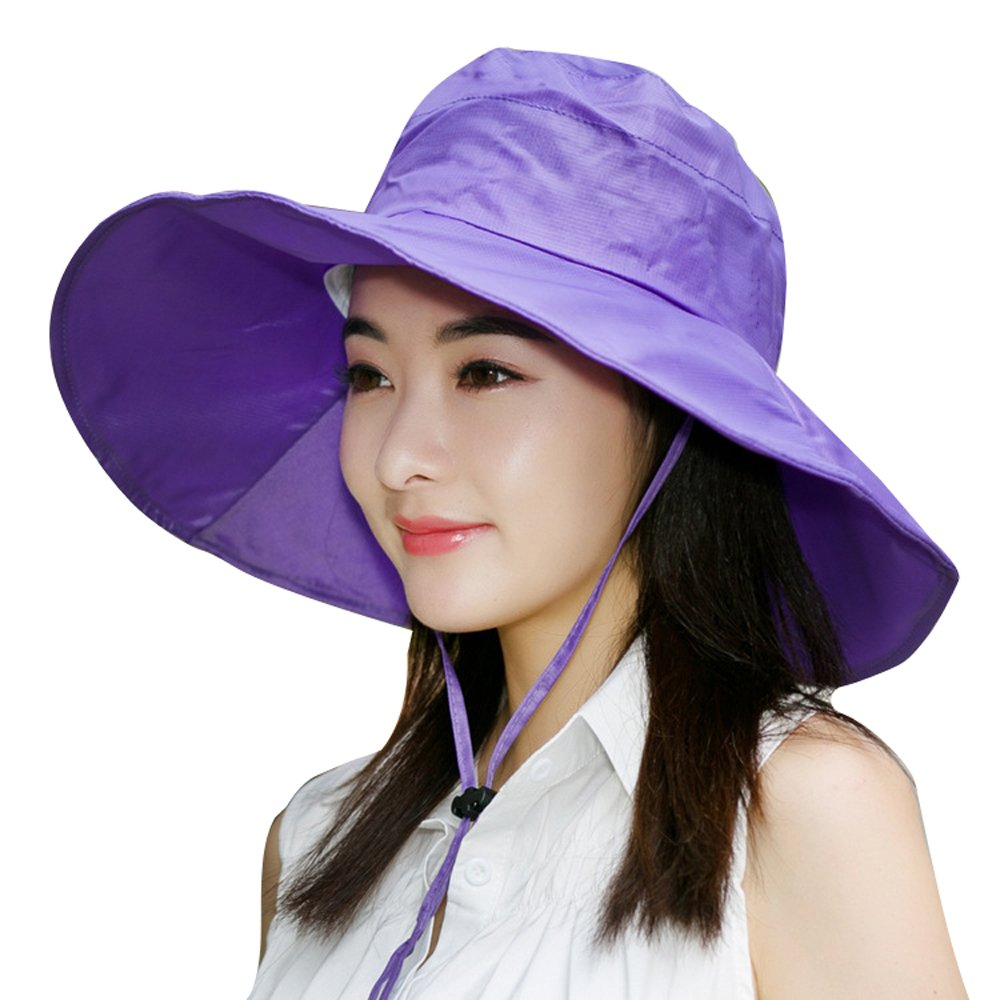 Summer Beach Hat Wide Brim for Women Foldable UPF 50+ (purple)