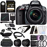 Nikon D5300 DSLR Camera with 18-55mm Lens (Grey) + Sony 32GB UHS-I SDHC Memory Card (Class 10) + Remote + Flash + Cleaning Cloth Bundle