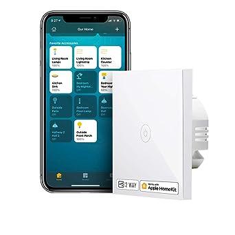Interruptor de Pared Táctil Wi-Fi, 2 Vías, 1 Canal. Compatible con HomeKit Siri, Alexa, Google ...