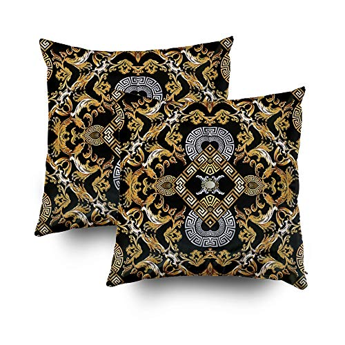 GROOTEY Pillow Cases, Square Pillow Covers with Zip Couch Sofa Décor Baroque Pattern Black Damask Background Wallpaper Vintage Gold Silver Flowers Scroll Leaves Rh 16X16 Set of 2 Throw Cushion
