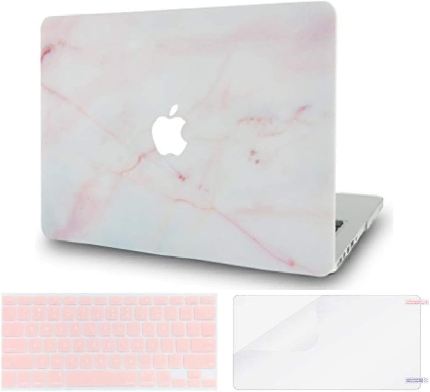 LuvCase 3 in 1 Laptop Case for MacBook Air 13 Inch (Touch ID)(2020/2019/2018) A2179/A1932 Retina Display Hard Shell Cover, Keyboard Cover & Screen Protector (Pink Marble)