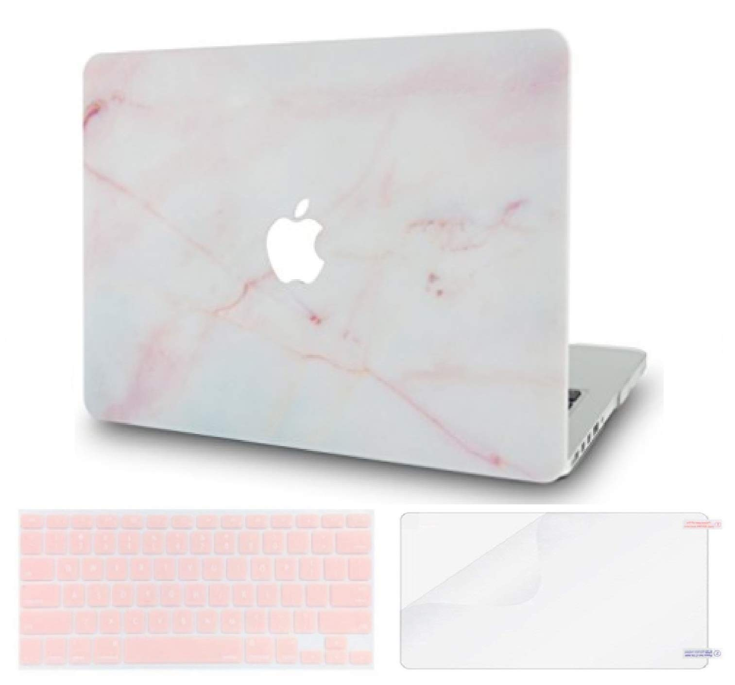 LuvCase 3 in 1 Rubberized Plastic Hard Shell Case with Keyboard Cover and Screen Protector Compatible MacBook Air 13 Inch 2019/2018 New Version A1932 with Retina Display (Touch ID) (Pink Marble)