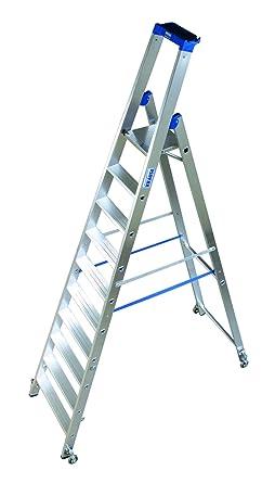 LDC661 Escalera de Tijera Standard con Ruedas, 10 Peldaño, 4.35 m Altura de Escalera, 3 m Altura Escalera, 2.35 m Altura Último Peldaño: Amazon.es: Industria, empresas y ciencia