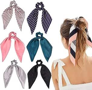 6Pcs Hair Scrunchies Satin Silk Elastic Hair Bands Hair Scarf Ponytail Holder Scrunchy Ties Vintage Accessories for Women Girls 6 Count Stripes