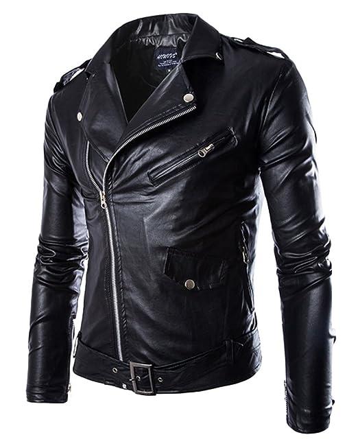 Chaqueta de Motociclista con Cinturón para Hombre Abrigo de Punk en Imitación Cuero Piel: Amazon.es: Ropa y accesorios