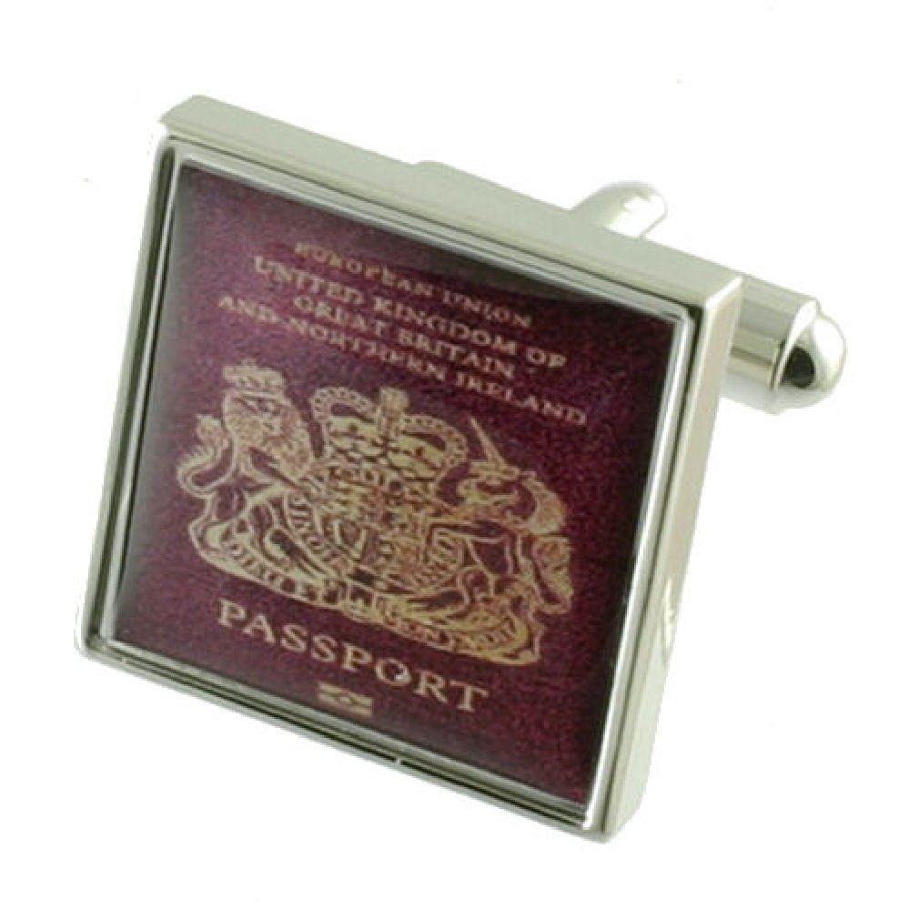 Travel Holiday Passport Solid Sterling Silver 925 Cufflinks with optional engraved message box by Select Gifts