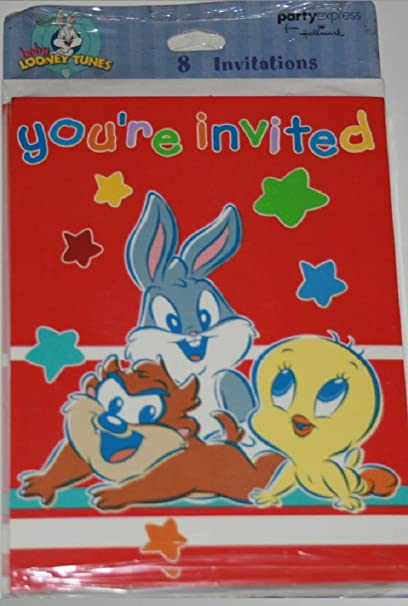 Amazon Com Baby Looney Tunes Party Invitations 8 Invitiations