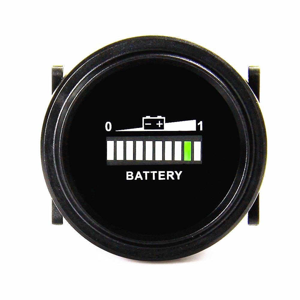 Qiorange Round Digital LED 12V 24V 36V 48V 72V Battery Indicator Meter Gauge Charge Status Monitor Tester for Golf Carts Forklift Car Scooter Motorcycle (12V-72V)