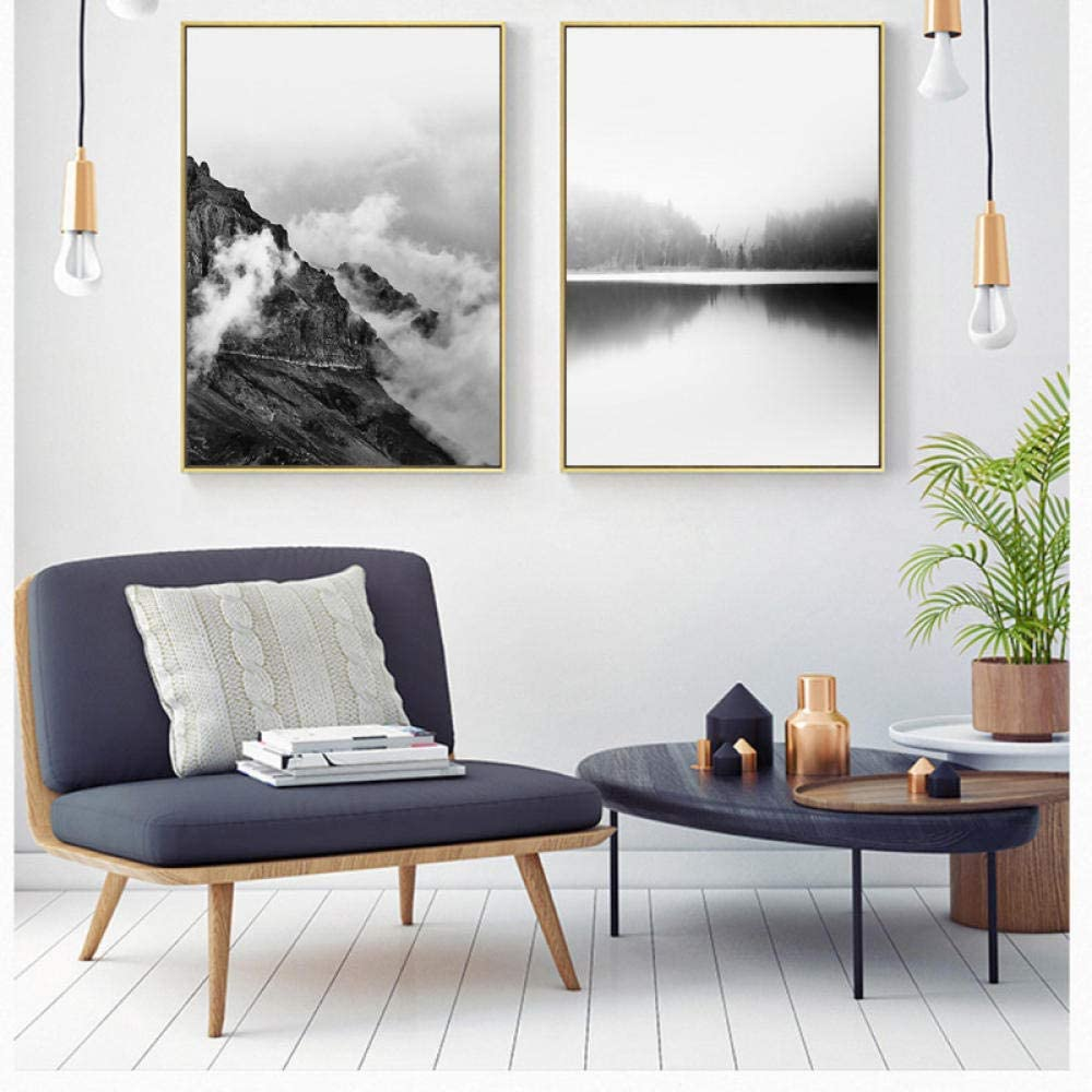 Mkglu Nordic Black And White Mountain Forest Quiet Lake Simple Modern Home Decoration Canvas Painting Bedroom Background Wall Art 60x90cmx2pcs No Frame Amazon Co Uk Kitchen Home