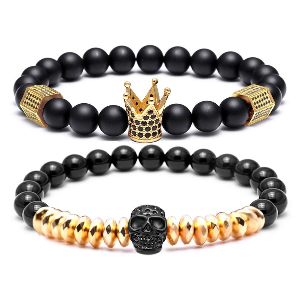SEVENSTONE 8mm Crown King Charm Bracelet for Men Women Black Matte Onyx Stone Beads (4-Gold)